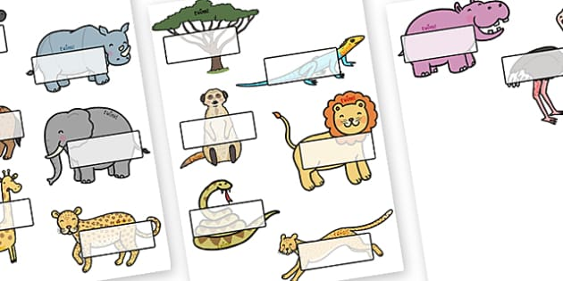Editable Self Registration Labels (Safari Animals) - Display, editable, label, topic, Safari, Safari Animals, self registration, lion, cheetah, puma, jaguar, rhino, hippo, elephant