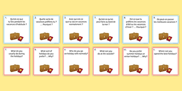General Conversation Question Pair Cards Travel and Tourism - french, Conversation, Speaking, Questions, Travel, Tourism, Holidays, Vacances, Voyage, Tourisme, Cards, Cartes