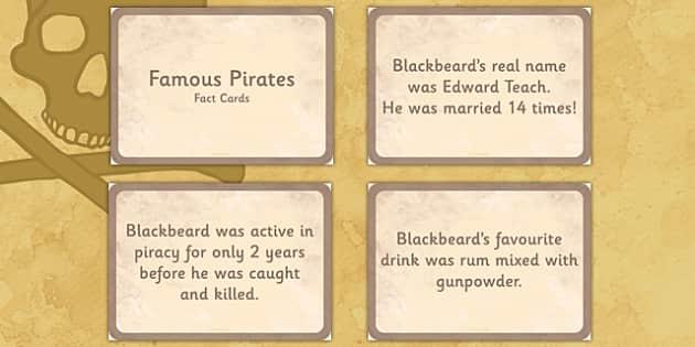 Famous Pirates Display Fact Cards - pirates, fact cards, display