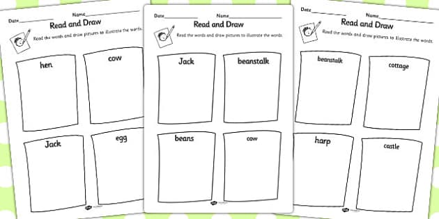 Jack and the Beanstalk Read and Draw Worksheet - read, draw