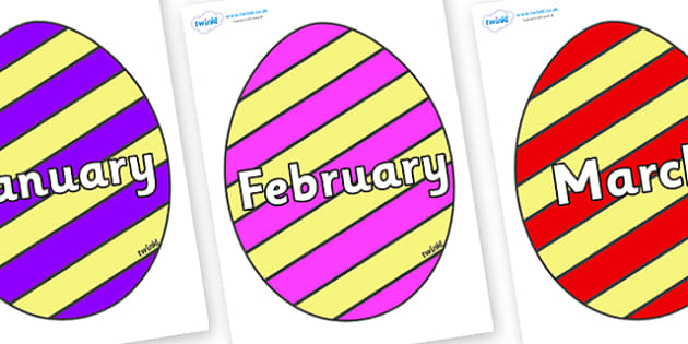 Months of the Year on Easter Eggs (Stripes) - Months of the Year, Months poster, Months display, display, poster, frieze, Months, month, January, February, March, April, May, June, July, August, September