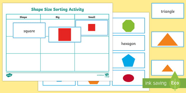 Shape Size Sorting Activity - numeracy, geometry, shapes, 2d, sorting, size, shape size sorting, shapes activity, shape size activity, sorting shape size activity, sorting shapes, shape sizes