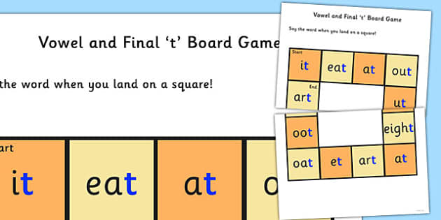 Vowel and Final 'T' Board Game - t sound, final, vowel, game
