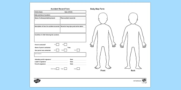 Accident Record With Body Map Form - accident, incident, safeguarding, childminders, nursery, preschool, record keeping, admin