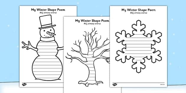 Winter Shape Poetry Polish Translation - polish, winter, shape, poetry, shape poetry, poem
