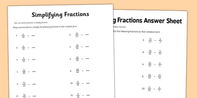 Year 6 Simplifying Fractions Activity Sheet year 6 – Simplest Form Fractions Worksheet