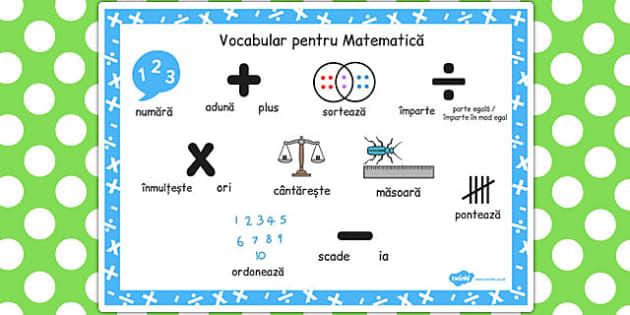 Vocabular pentru Matematica, plansa, numara, aduna, scade, Romanian