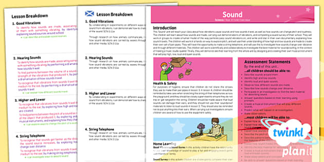 PlanIt - Science Year 4 - Sound Planning Overview CfE - Planit, CfE, sound, vibrations, waves, music