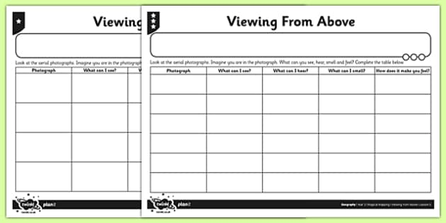 Differentiated Viewing from Above Activity Sheet - differentiated, viewing, above, activity, worksheet