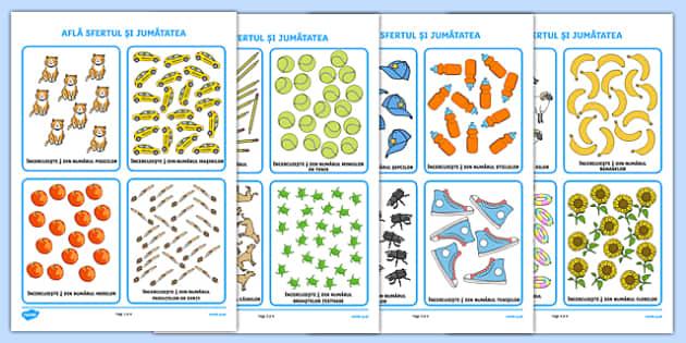 Află sfertul și jumătatea - Cartonașe ilustrate - Află sfertul și jumătatea, Cartonașe ilustrate - sfert, jumatate, o patrime, o doime, matematica, fractii, materiale, materiale didactice, română, romana, material, material didactic