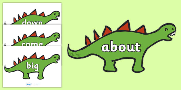 100 High Frequency Words on Dinosaurs - High frequency words, hfw, dinosaur, dinosaurs, DfES Letters and Sounds, Letters and Sounds, display words, t-rex, stegosaurus, raptor, iguanodon, tyrannasaurus rex