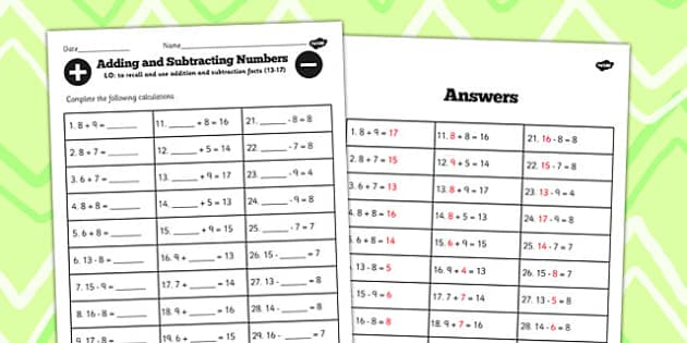 Number Facts Worksheet 13-17 One Digit - number, facts, 13, 17