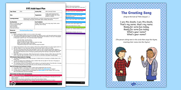 EYFS Who's Missing? Game Adult Input Plan - EYFS, Early Years planning, adult led, PSED, transition, new year, new term, making relationships.