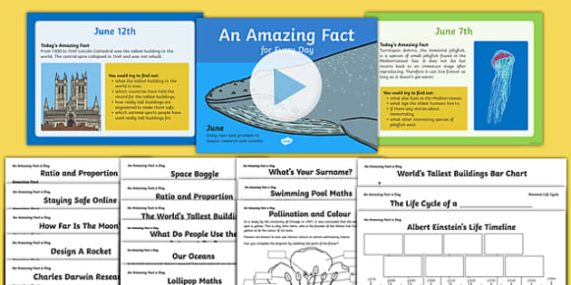 An Amazing Fact a Day June PowerPoint and Activity Sheets Pack , worksheet