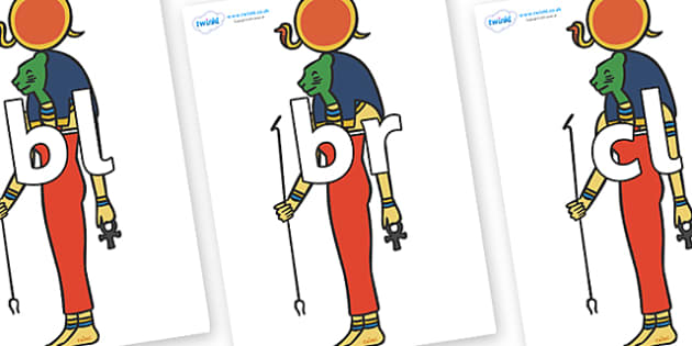 Initial Letter Blends on Egyptian Icons - Initial Letters, initial letter, letter blend, letter blends, consonant, consonants, digraph, trigraph, literacy, alphabet, letters, foundation stage literacy
