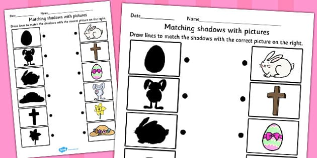 Easter Themed Shadow Matching Worksheet - easter, match, shadow