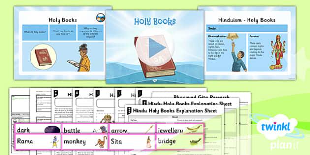 PlanIt - RE Year 3 - Hinduism Lesson 5: Holy Books Lesson Pack - holy books, vedas, smirti, shruti, baghavad gita