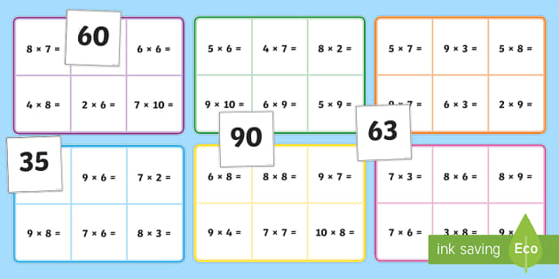 6 7 8 And 9 Multiplication Bingo - times, times tables, multiply