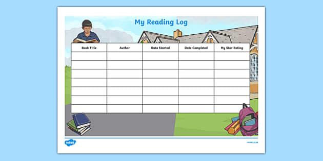 My Reading Log Activity Sheet-Irish, worksheet