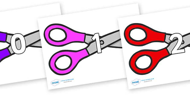 Numbers 0-50 on Scissors - 0-50, foundation stage numeracy, Number recognition, Number flashcards, counting, number frieze, Display numbers, number posters
