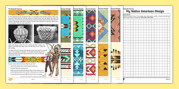 The Desperate Journey Native American Designs Information And Design Sheet - highland clearances, cfe, curriculum for excellence, scotland, history, geography, ks2, literacy