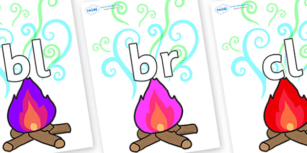 Initial Letter Blends on Magic Fire - Initial Letters, initial letter, letter blend, letter blends, consonant, consonants, digraph, trigraph, literacy, alphabet, letters, foundation stage literacy