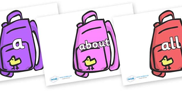 100 High Frequency Words on Backpacks - High frequency words, hfw, DfES Letters and Sounds, Letters and Sounds, display words