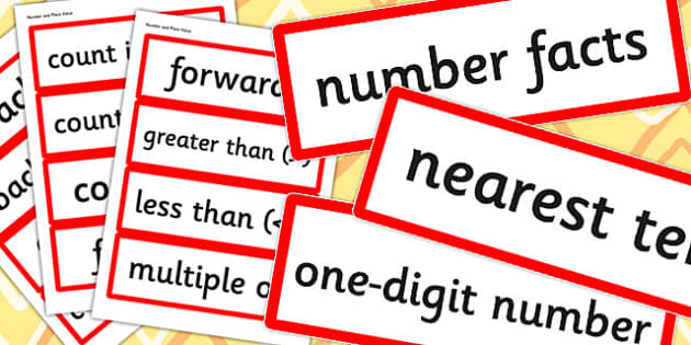 Year 2 2014 Curriculum Number and Place Value Vocabulary Card
