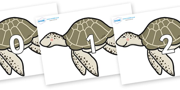 Numbers 0-100 on Turtles - 0-100, foundation stage numeracy, Number recognition, Number flashcards, counting, number frieze, Display numbers, number posters