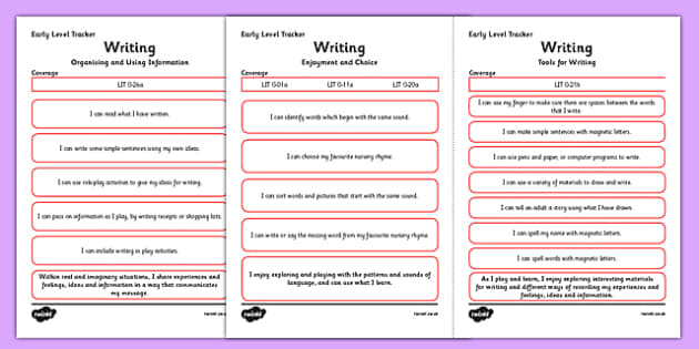 CfE Child Friendly Tracking Early Level Writing - Literacy, English, I Can, Tracking, Visual Pathway
