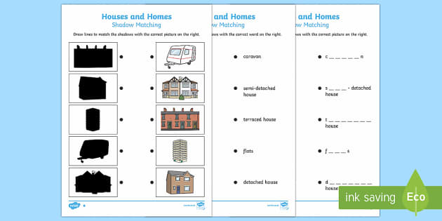 Houses and Homes Matching Activity Sheet - Houses and homes pdf, houses and home, matching, labelling, activity, worksheet, worksheets, ks1, to