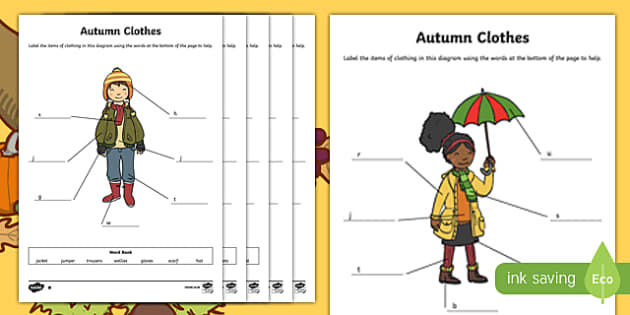 Autumn Clothes Labelling Differentiated Activity Sheet Pack, worksheet