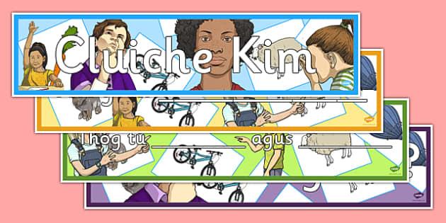 Cluiche Kim Display Banners Pack - gaeilge, games, vocabulary, irish, oral language, display, Cluiche Kim
