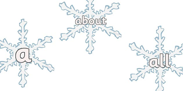100 High Frequency Words on Snowflakes - High frequency words, hfw, Snowflake, snowflakes, DfES Letters and Sounds, Letters and Sounds, Winter, Christmas, editable, winter words, snowflake, snow, winter, frost, cold, ice, hat, gloves, display words