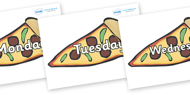 Days of the Week on Pizza - Days of the Week, Weeks poster, week, display, poster, frieze, Days, Day, Monday, Tuesday, Wednesday, Thursday, Friday, Saturday, Sunday