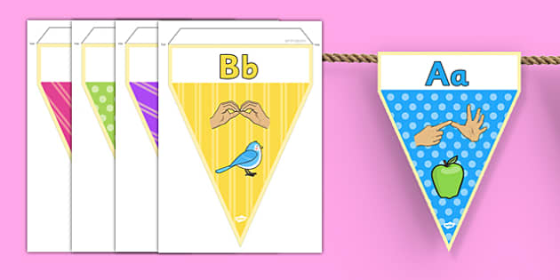 British Sign Language Alphabet Image Display Bunting - display