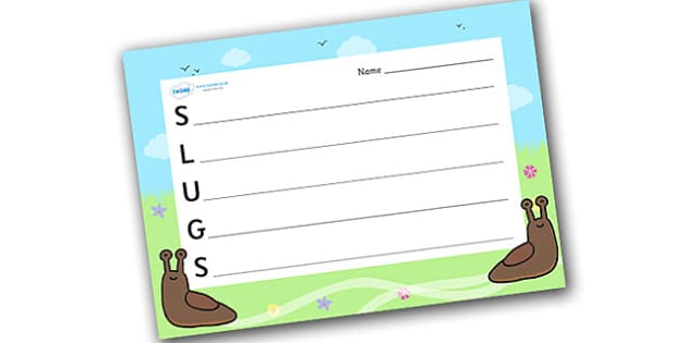 Slugs Acrostic Poem - acrostic poems, acrostic poem, acrostic, slugs, slug, slugs poem, slugs poem template, slugs acrostic poem template, slugs acrostic poem writing frame, minibeast acrostic poem, minibeast writing frame, poem, poetry, literacy, wr