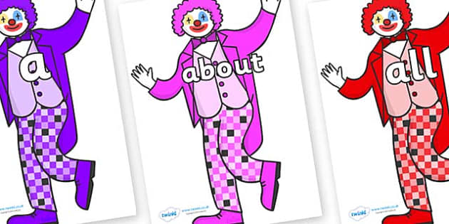 100 High Frequency Words on Clowns - High frequency words, hfw, DfES Letters and Sounds, Letters and Sounds, display words