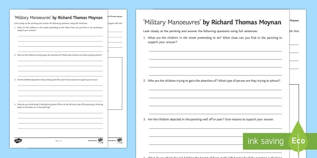 Military Manoeuvres Art Appreciation Activity Sheet - Irish Art Resources, art strands, display resources, art appreciation, activity sheet, artist, perso