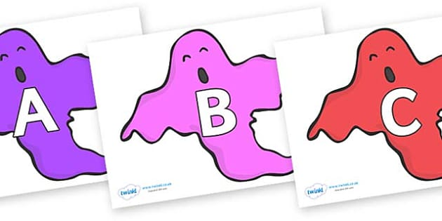 A-Z Alphabet on Ghosts (Multicolour) - A-Z, A4, display, Alphabet frieze, Display letters, Letter posters, A-Z letters, Alphabet flashcards
