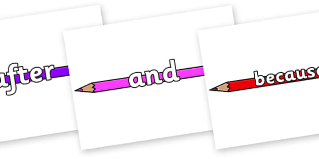 Connectives on Pencil Crayon - Connectives, VCOP, connective resources, connectives display words, connective displays