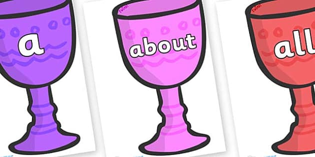 100 High Frequency Words on Goblets - High frequency words, hfw, DfES Letters and Sounds, Letters and Sounds, display words