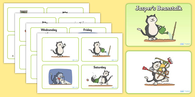 Visual Aids (4 per A4) to Support Teaching on Jasper's Beanstalk - Jasper, Jasper's Beanstalk, bean, sprayed, visual aid, aid, 4 per A4, watered, slugs, rake, found, beanstalk, planted, cat, dig, plant, waiting, story book, story, story resources