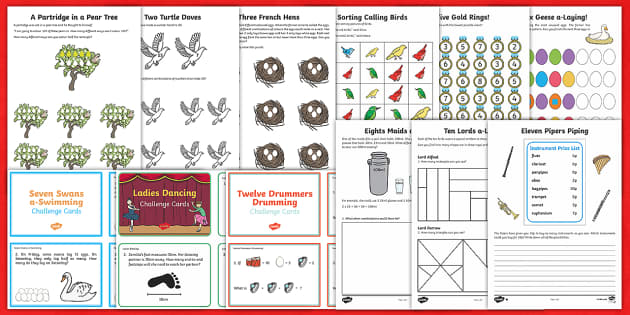 Twelve Days of Christmas Maths  Activity Pack - Christmas Maths, 12 days of Christmas, Christmas, addition, subtraction, grouping, sharing, word pro