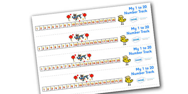 Chinese New Year Number Track (1-20) - Maths, Math, chinese new year, number track, numbertrack, Counting, Numberline, Number line, Counting on, Counting back, China, lantern, dragon, chopsticks, noodles, year of the rabbit, ox, snake, fortune cookie