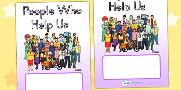 People Who Help Us Editable Book Cover - books, reading, services
