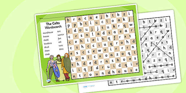 The Celts Wordsearch - the celts, word search, wordsearch, word activity, words, key words, word game, the celts games, games, activities, celt words