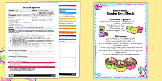 Chocolate Easter Nests EYFS Adult Input Plan and Resource Pack - easter, early years