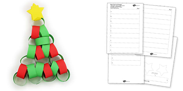 Christmas Tree Paper Chain Activity - christmas, tree, paper