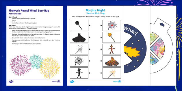 Firework Reveal Wheel Busy Bag Resource Pack for Parents